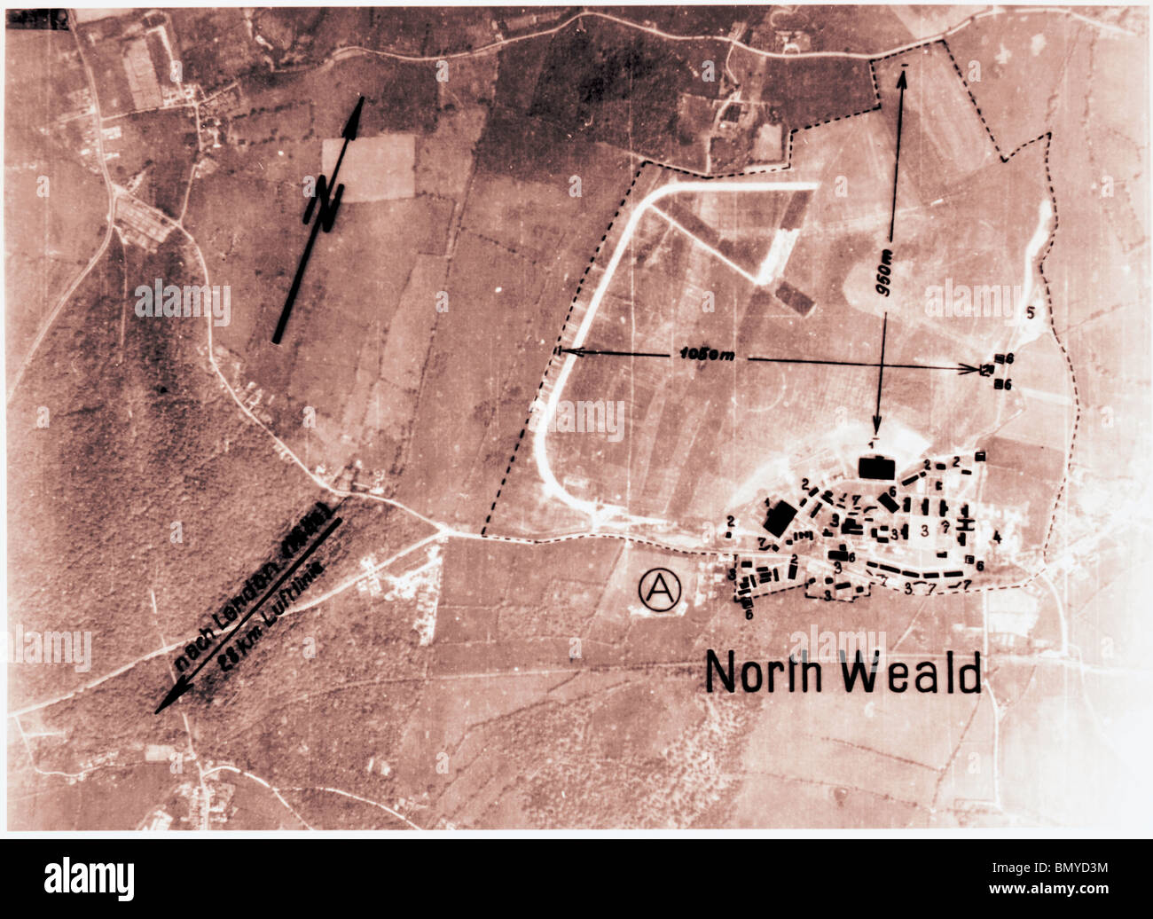 North Wield, Nr. Epping - Essex 1940 Airfield - Stock Image