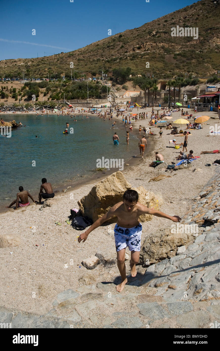 Playa Cala Cortina CARTAGENA CIUDAD region Murcia ESPAÑA Cala Cortina beach CARTAGENA CITY Murcia region SPAIN - Stock Image