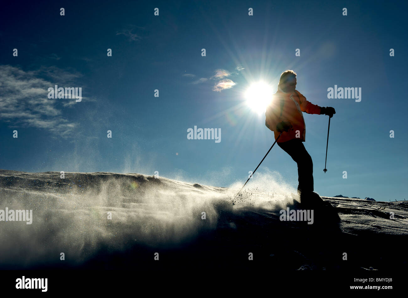 Zillertal, skier in action Stock Photo