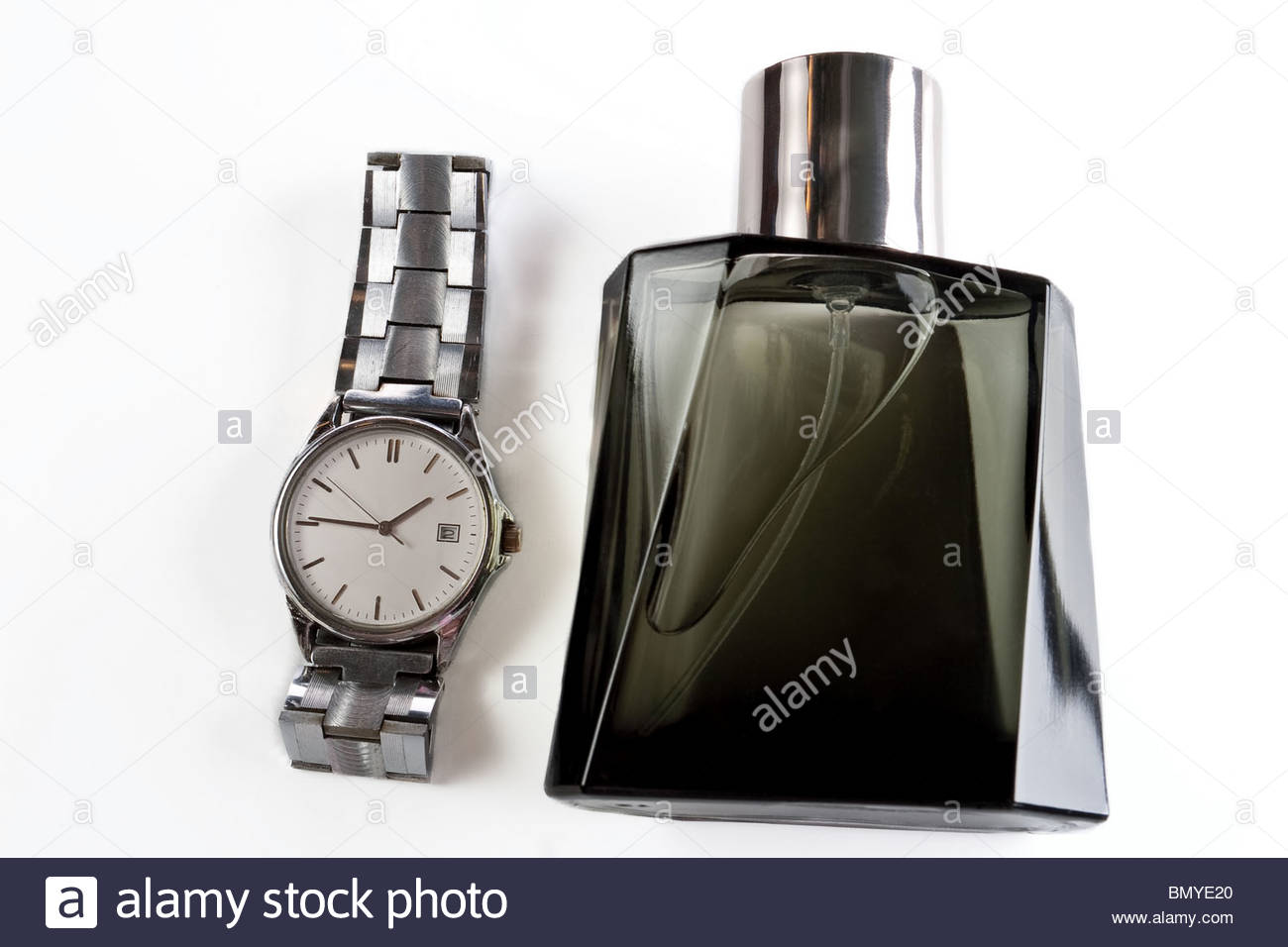 perfume and men's watches - Stock Image