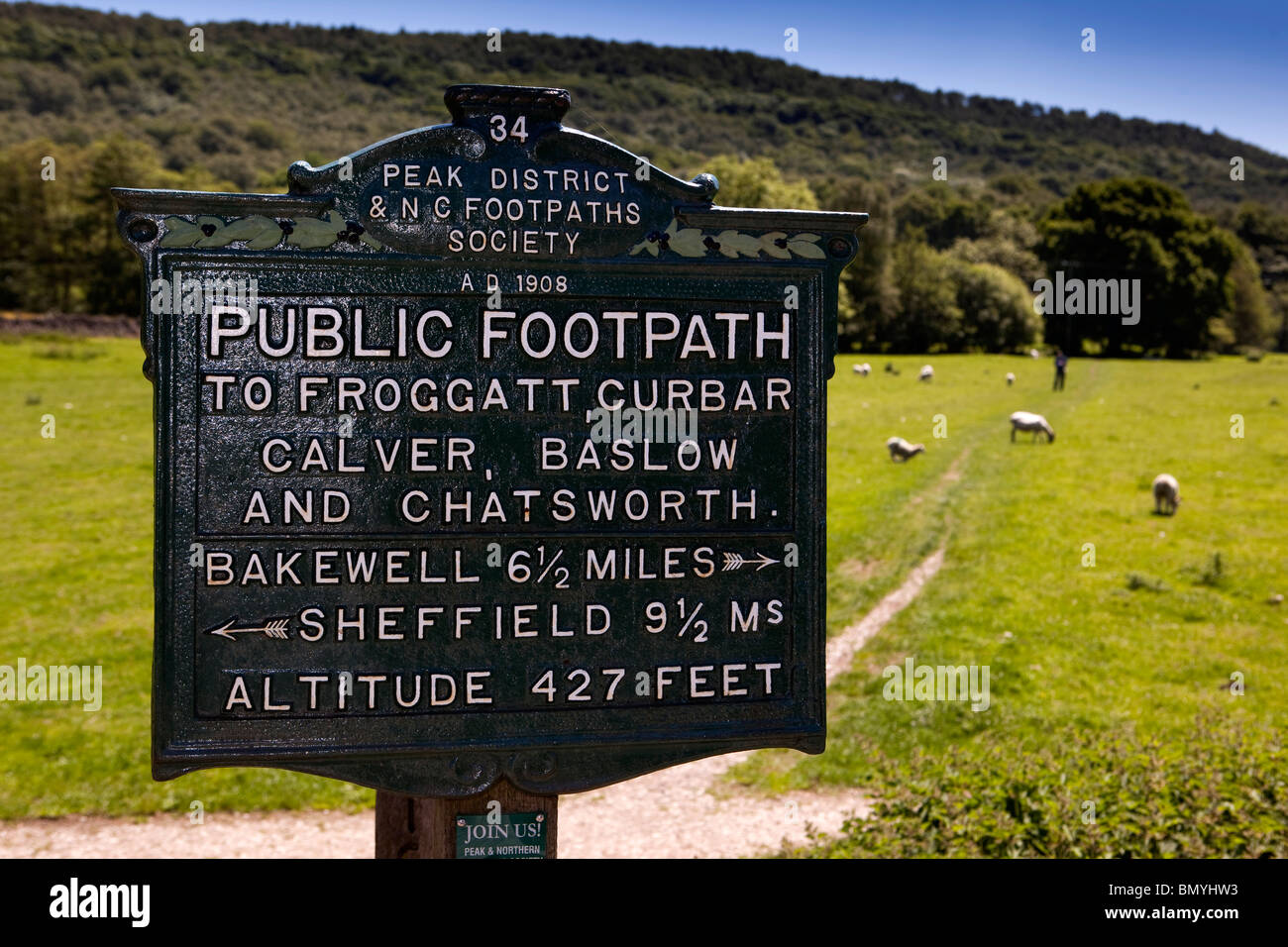 UK, Derbyshire, Peak District, Grindleford, Edwardian 1908 cast iron footpaths society sign - Stock Image