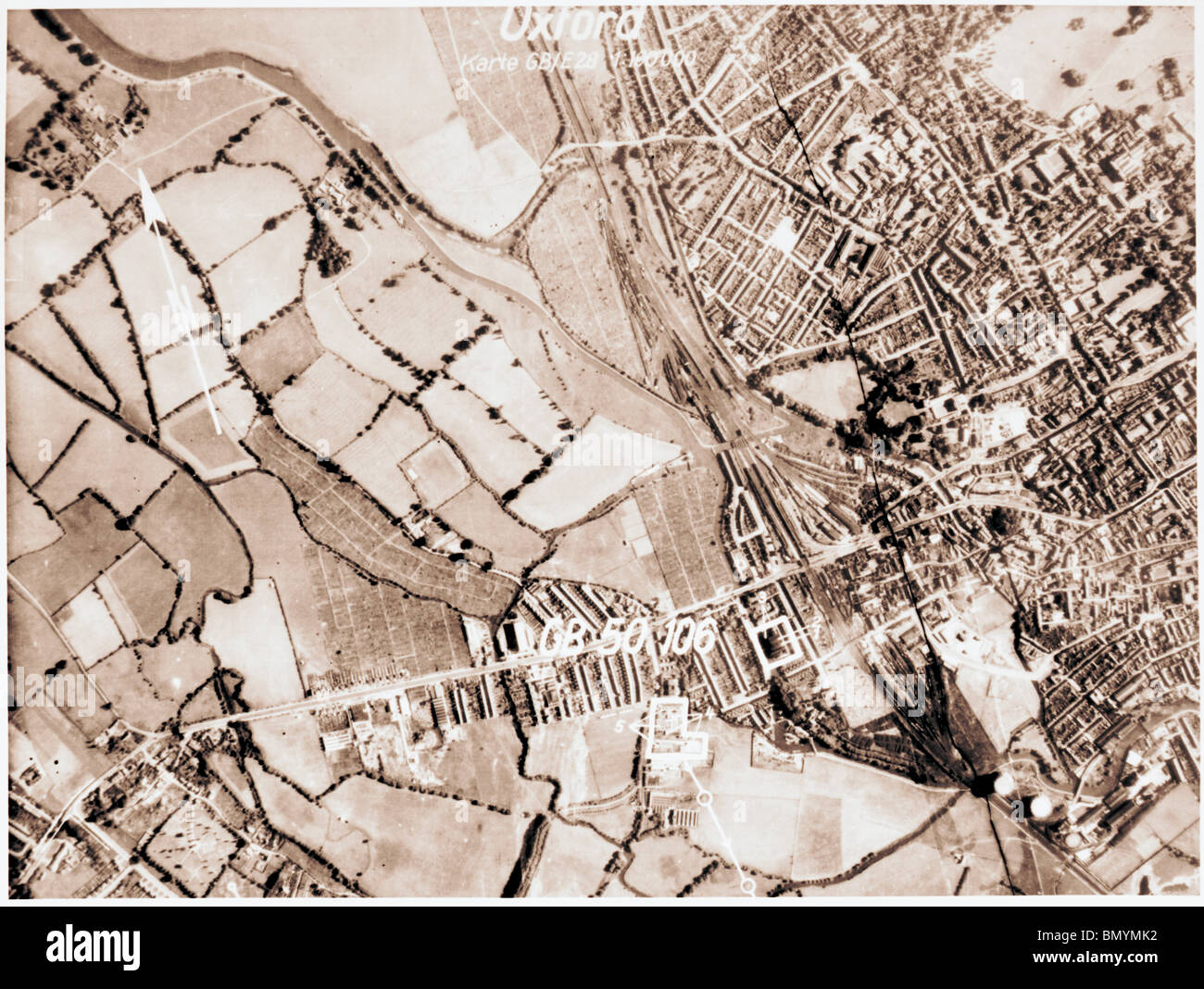Oxford - Oxfordshire 1940 Luftwaffe Aerial Image - Stock Image