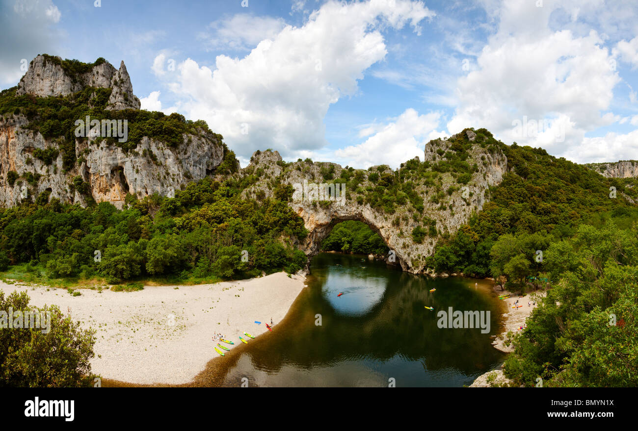 Panoramic view of natural stone arch Pont d'Arc in the Gorges de l'Ardèche - Stock Image