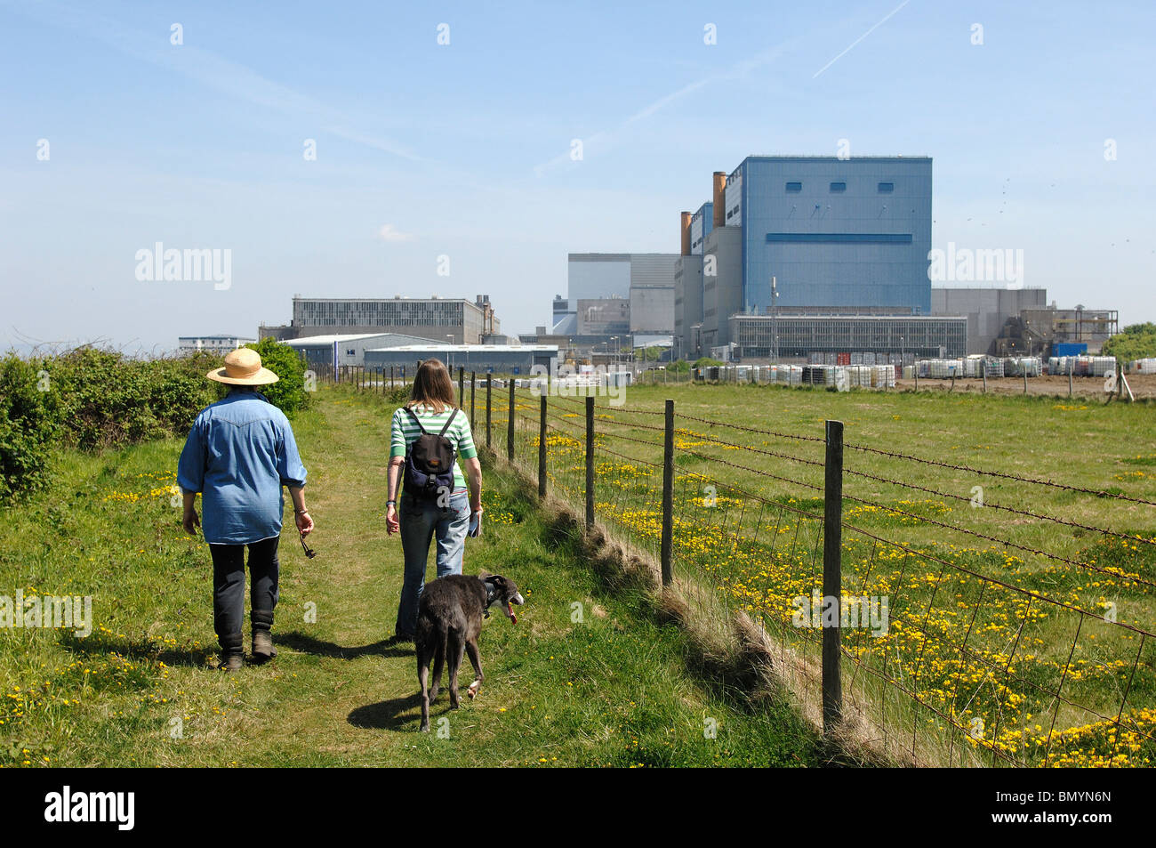 Site of Proposed Hinkley C Nuclear Power station with Existing Nuclear Stations behind - Stock Image
