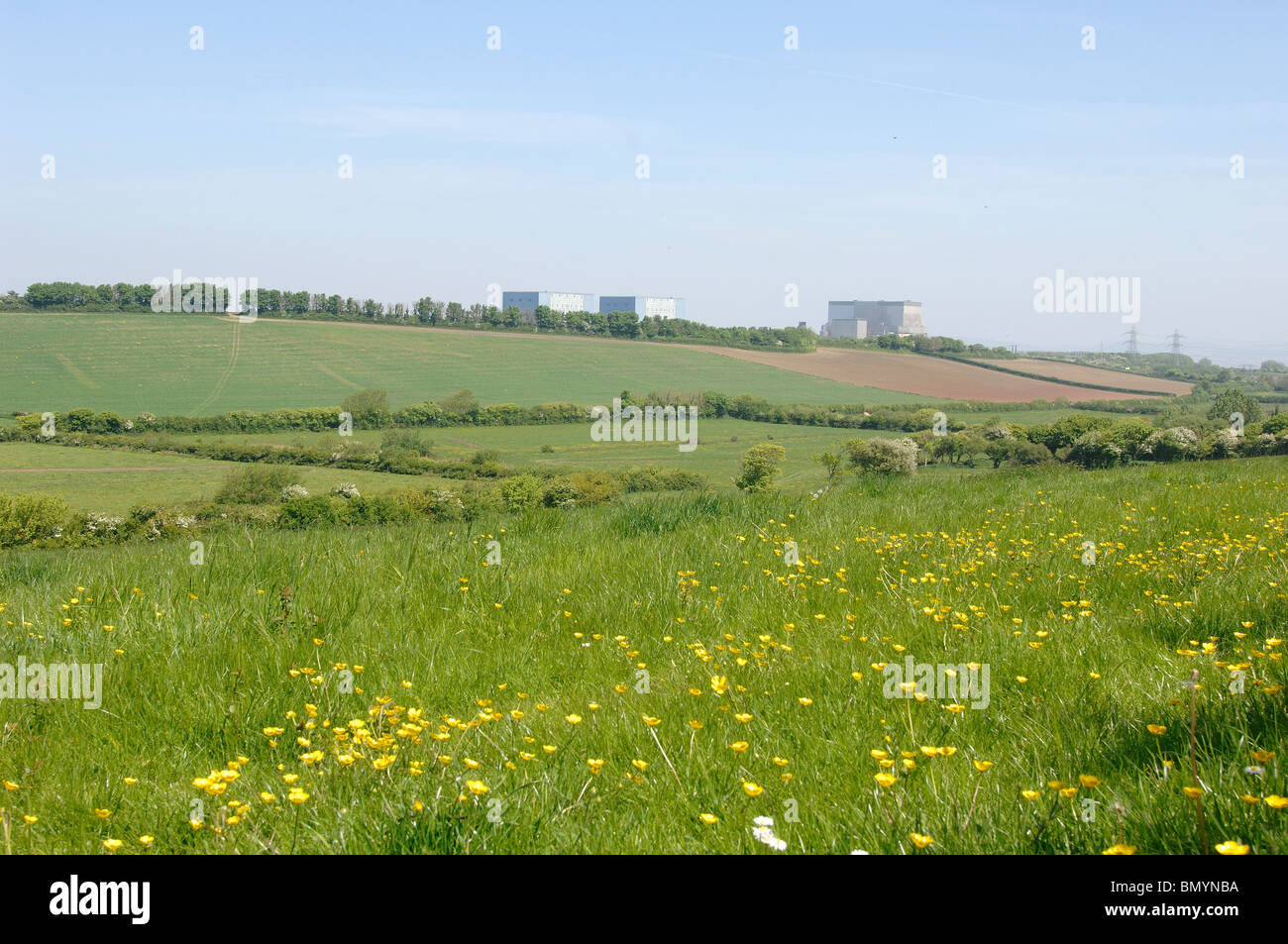 Site of the Proposed Nuclear Power Station at Hinkley Point in Somerset with the existing Power stations in the - Stock Image