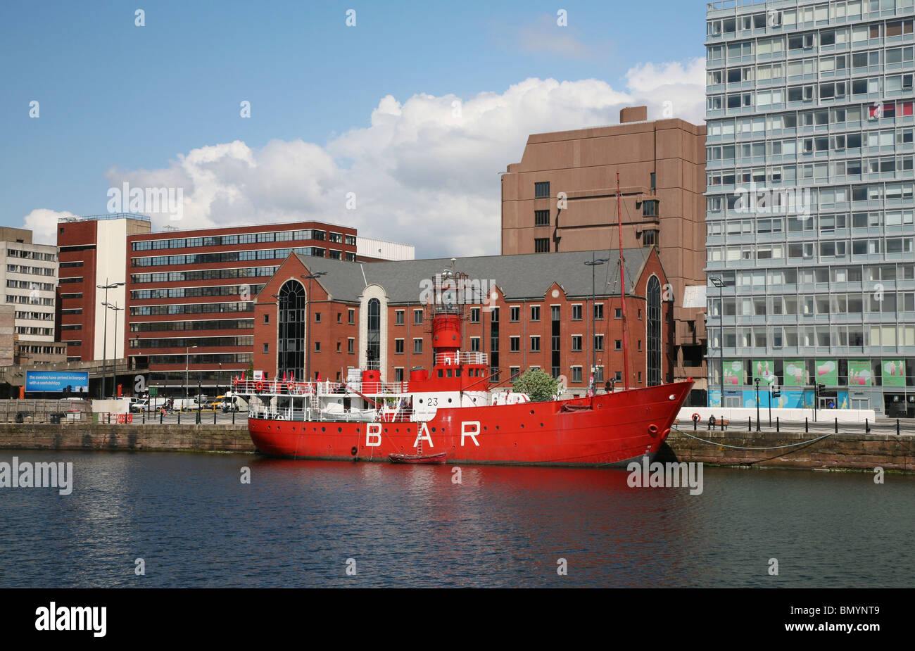The former Bar Lightship berthed at Canning Dock on the River Mersey, redevelopment of this historic dock was completed - Stock Image