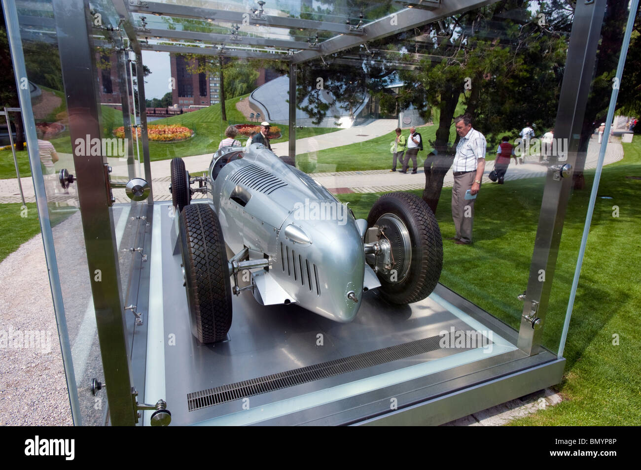 Antique Audi racing car in glass display case at Volkswagen Autostadt or Car City in Wolfsburg Germany - Stock Image