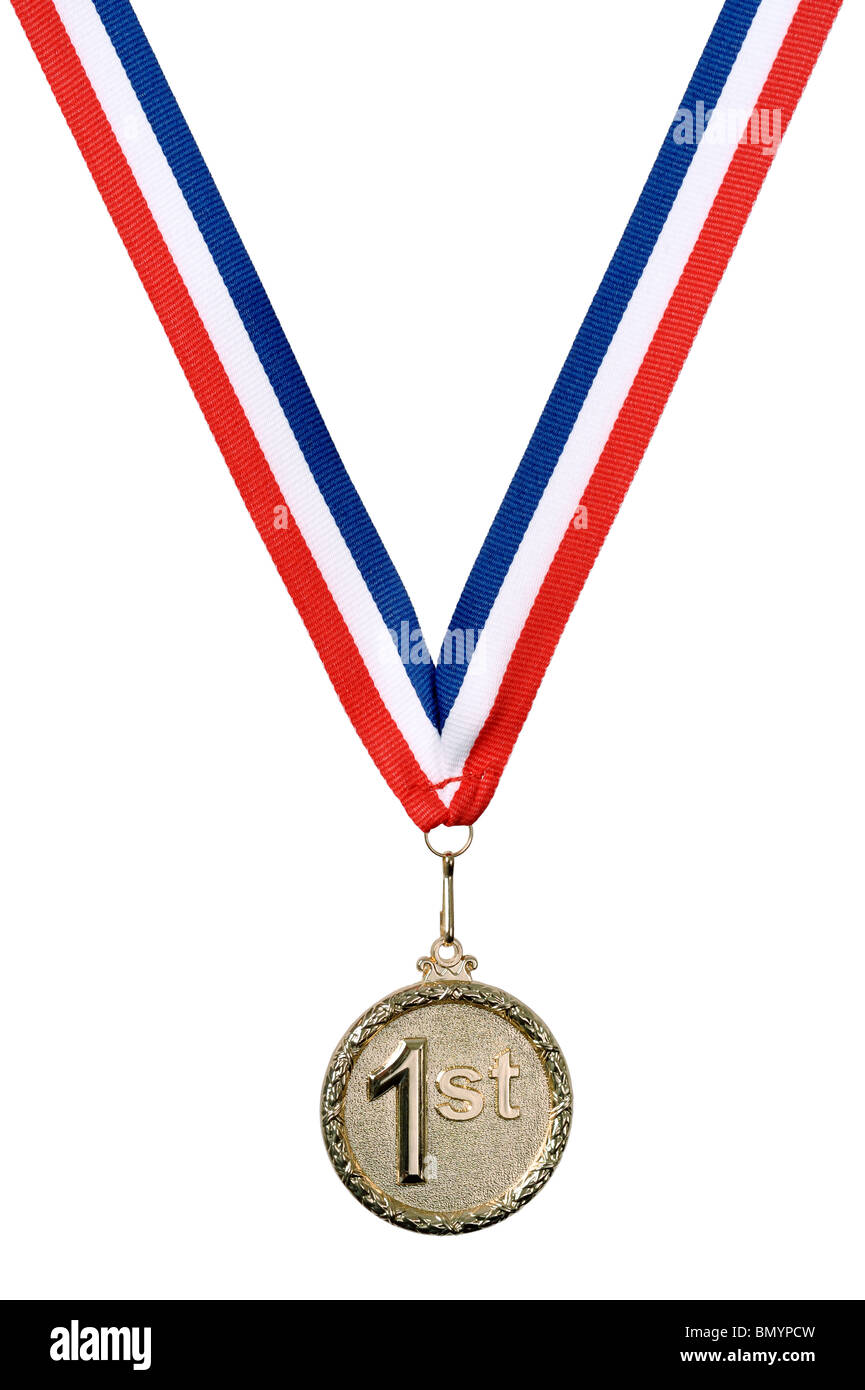 Gold 1st medal - Stock Image