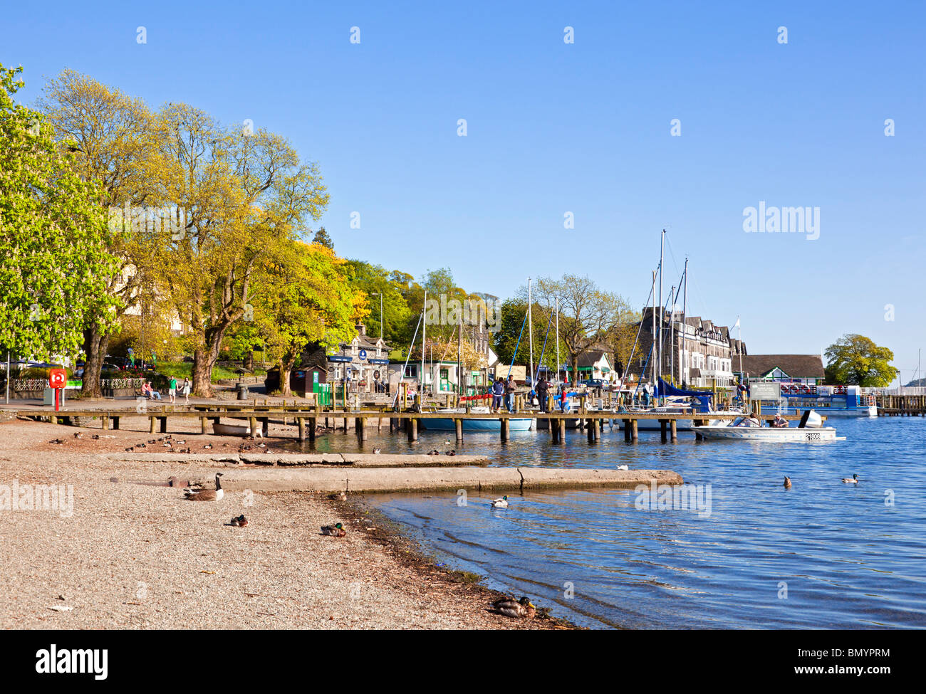 Lake Windermere at Ambleside Waterhead, the Lake District, Cumbria, England, UK - Stock Image