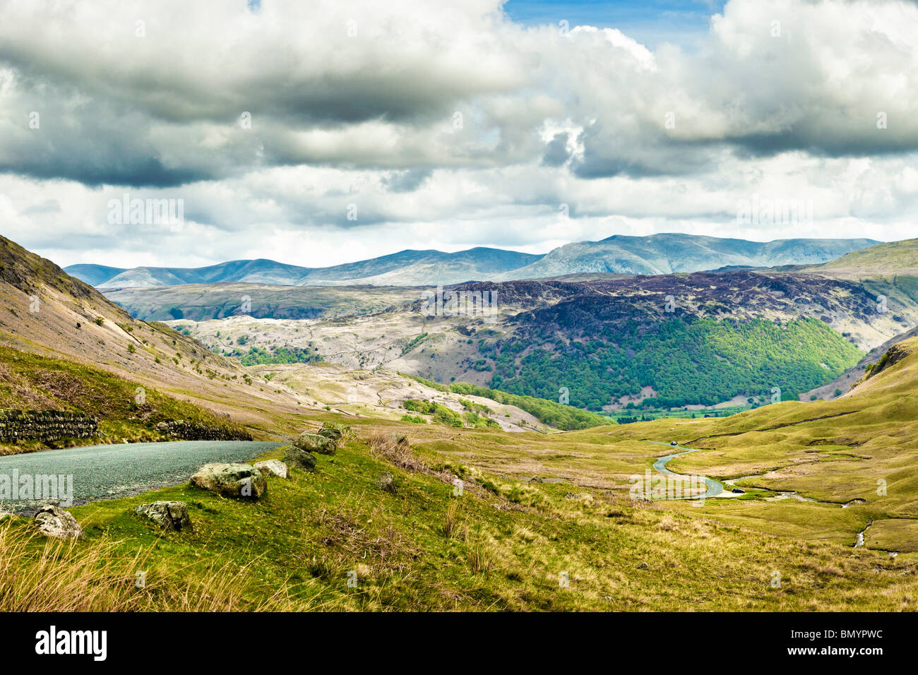 Honister Pass in the Lake District, Cumbria, England, UK - looking towards Borrowdale - Stock Image