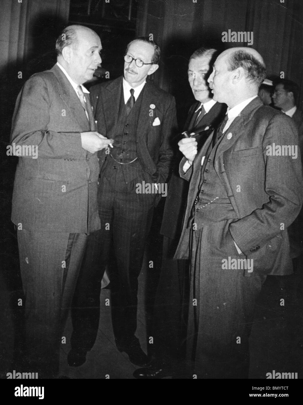 UN CONFERENCE June 1945. From l: Jan Masaryk, Viscount Cranborne, Vladimir Hurban, Czech Ambassador in Washington, - Stock Image