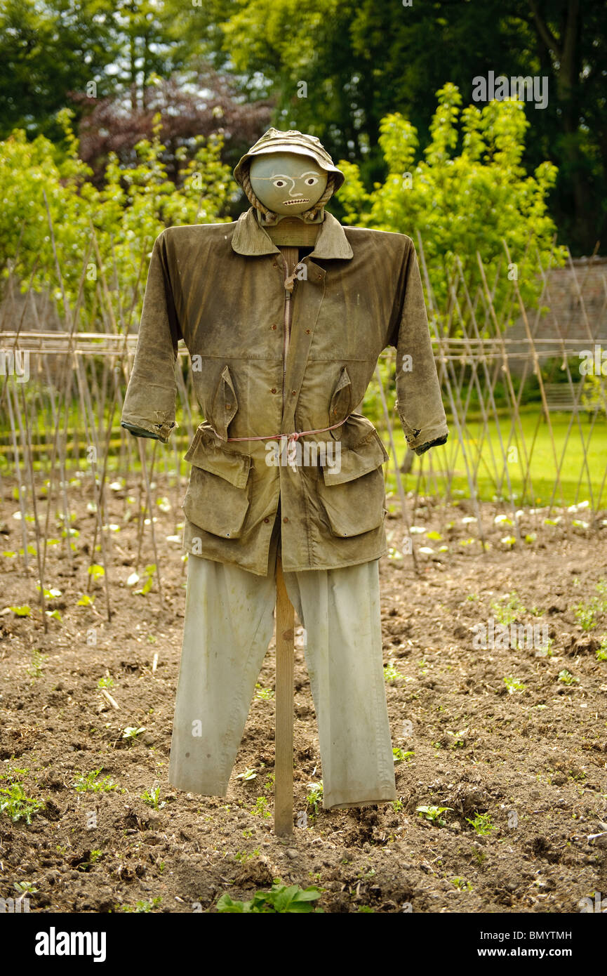 a scarecrow in the garden at Llanerchaeron National Trust property, Ceredigion Wales UK - Stock Image