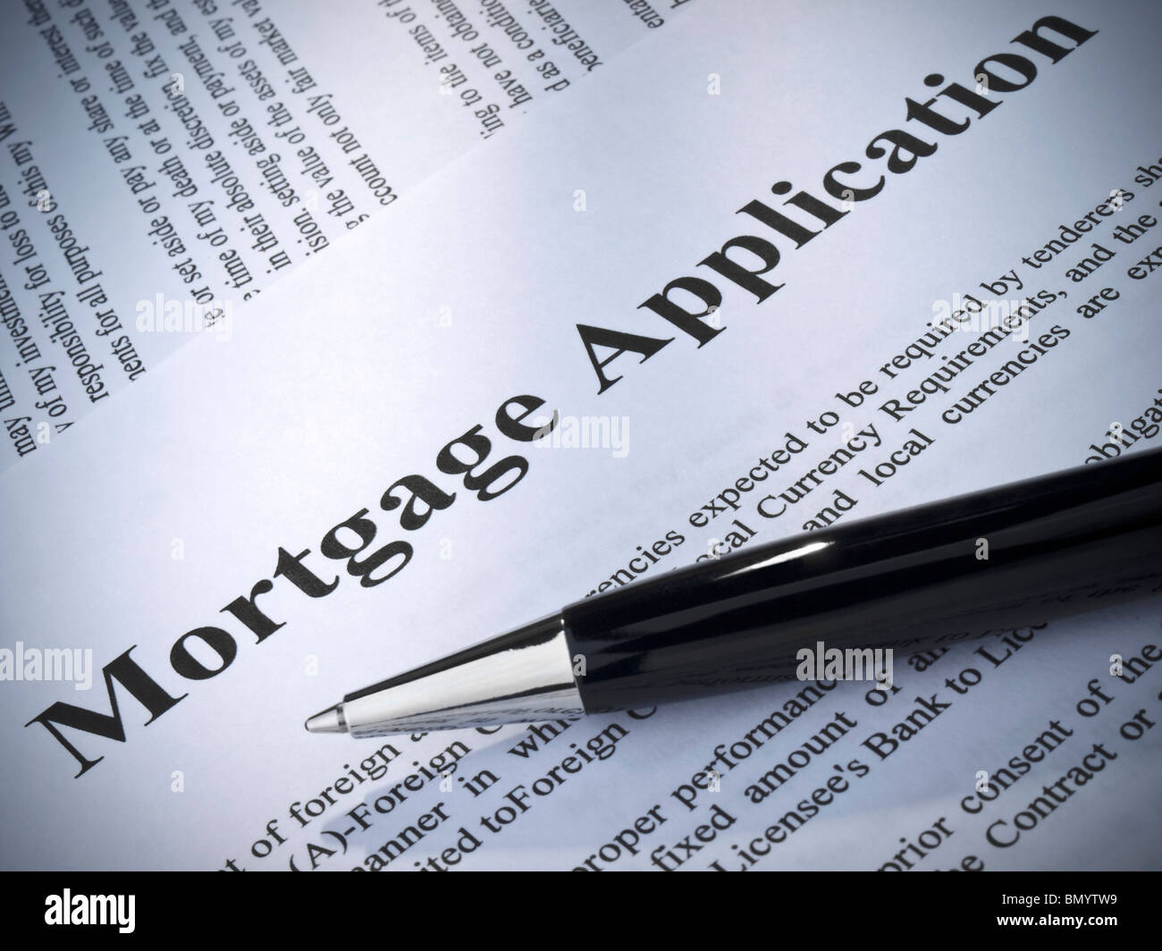 Close up of a mortgage application and a pen. - Stock Image