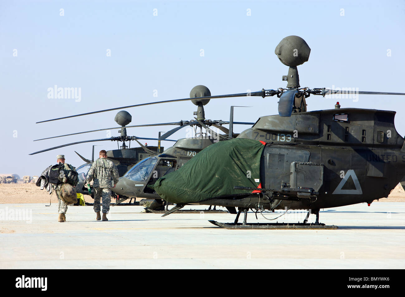 OH-58D Kiowa Warrior helicopters parked at Camp Speicher, Iraq. - Stock Image
