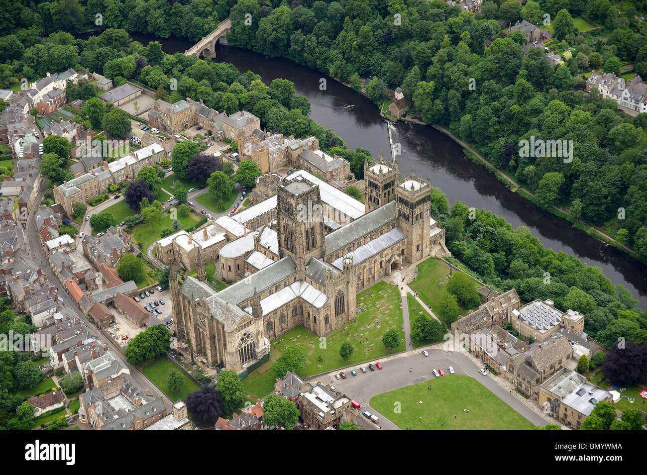 Durham Cathedral from the air, Summer 2010, North East England - Stock Image