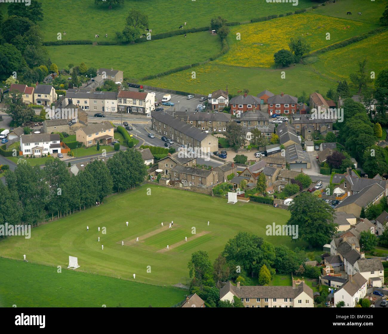Village Cricket Match, Killinghall, Nr Harrogate North Yorkshire, Northern England - Stock Image