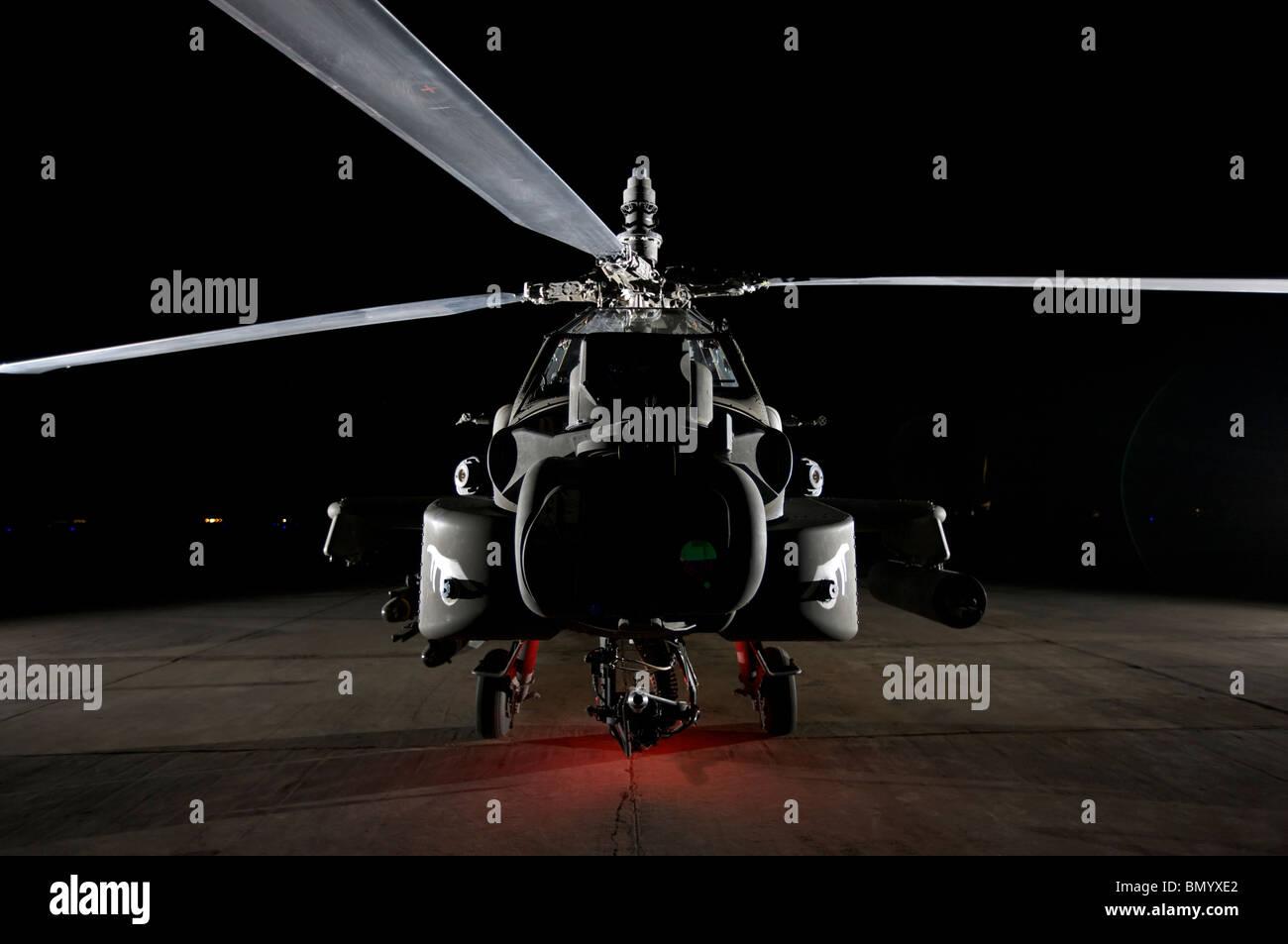 An AH-64D Apache Longbow at a U.S. operating base near Tikrit, Iraq. Stock Photo