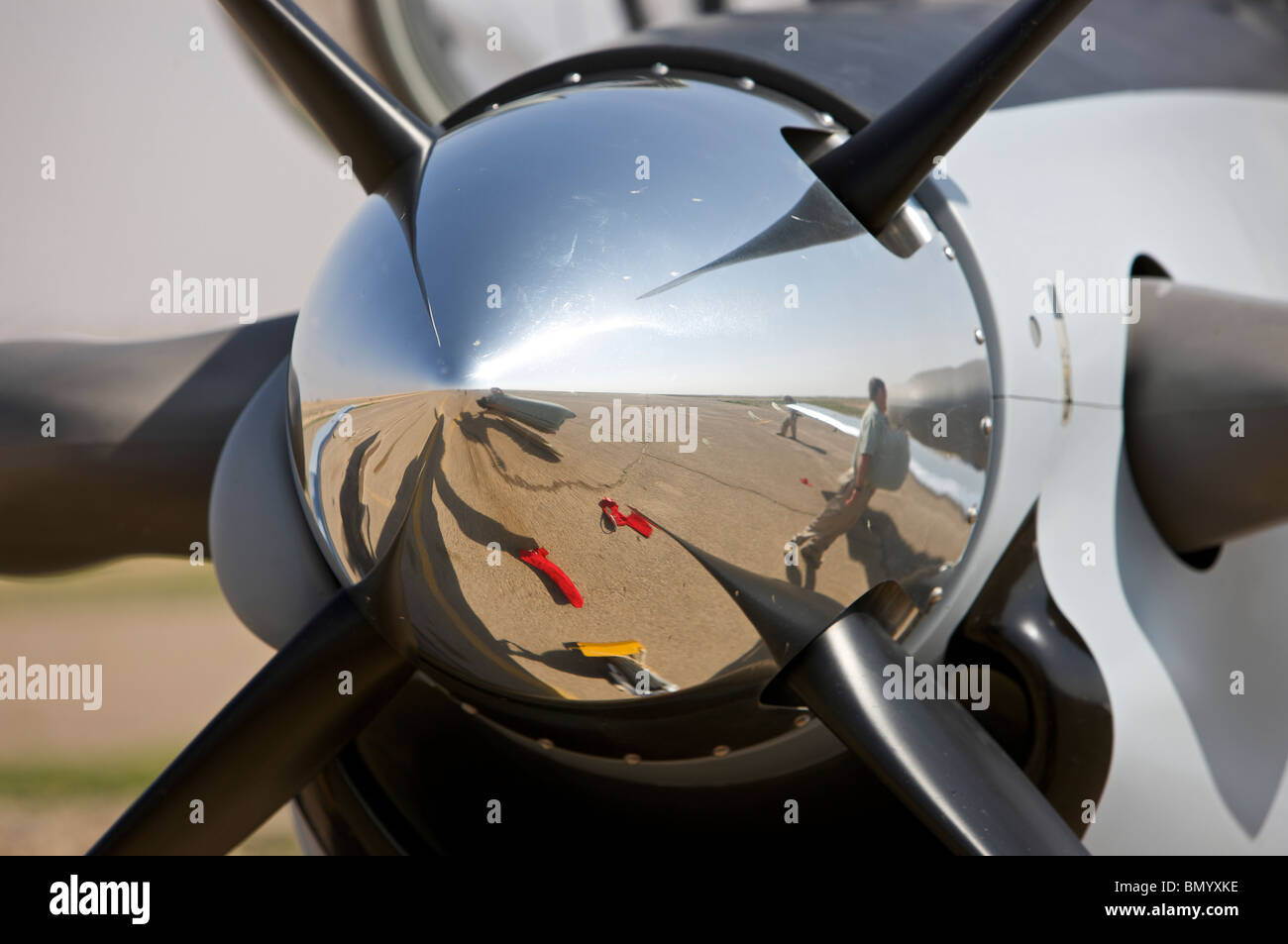 Close-up view of the propeller of an Iraqi Air Force T-6 Texan trainer aircraft. - Stock Image