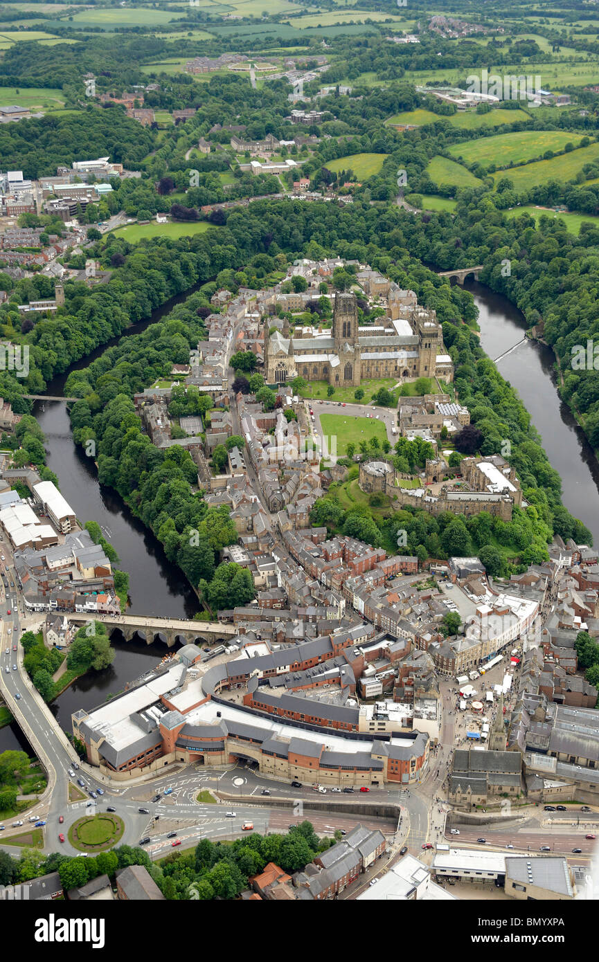 Durham City Centre, and Cathedral from the air, Summer 2010, North East England - Stock Image