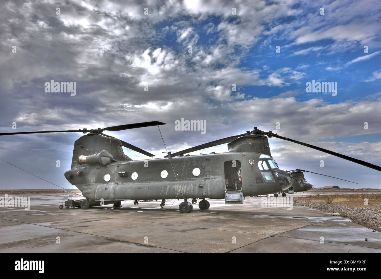 High dynamic range image of a CH-47 Chinook helicopter. - Stock Image