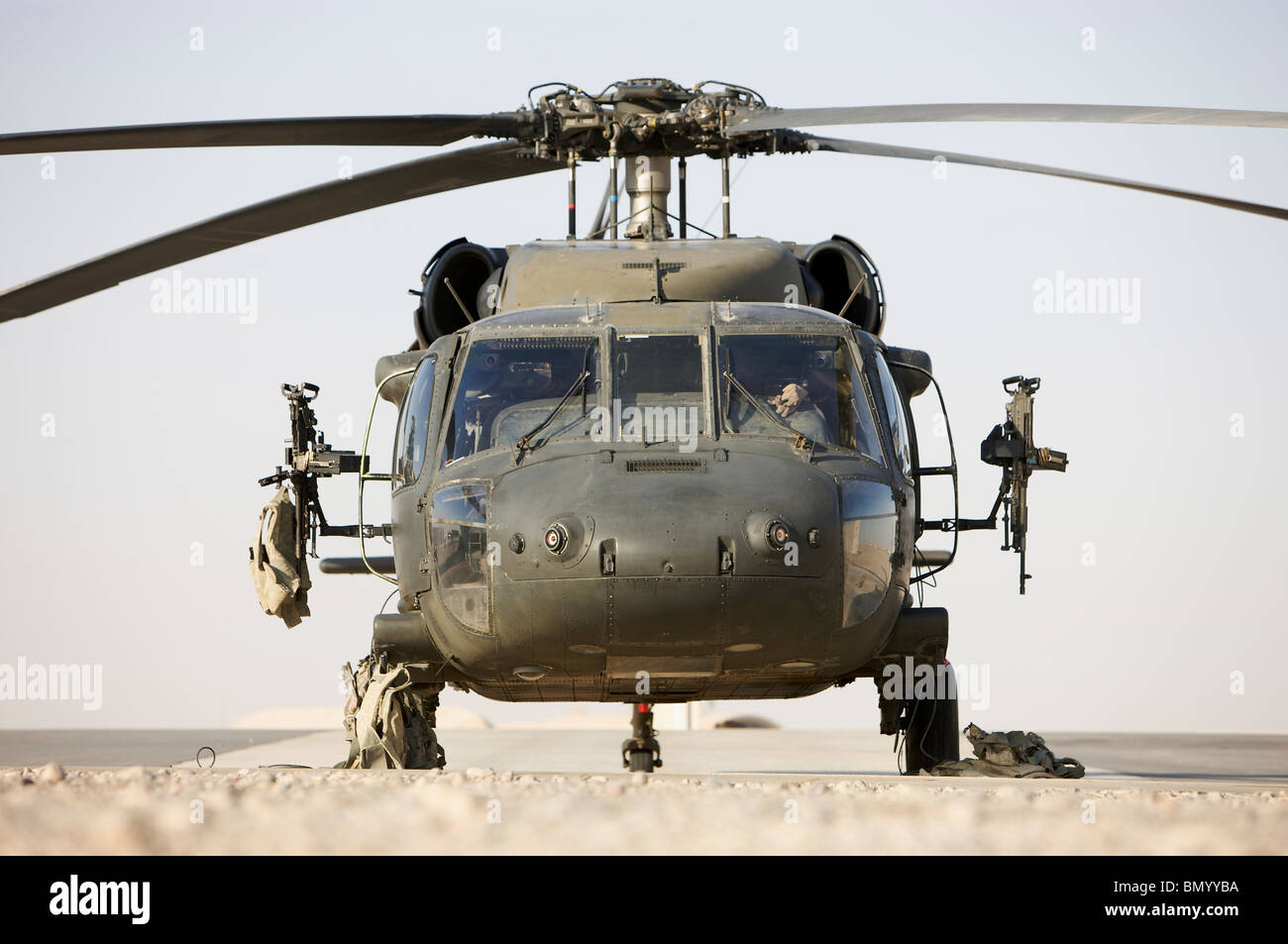 Front view of a UH-60L Black Hawk helicopter. - Stock Image