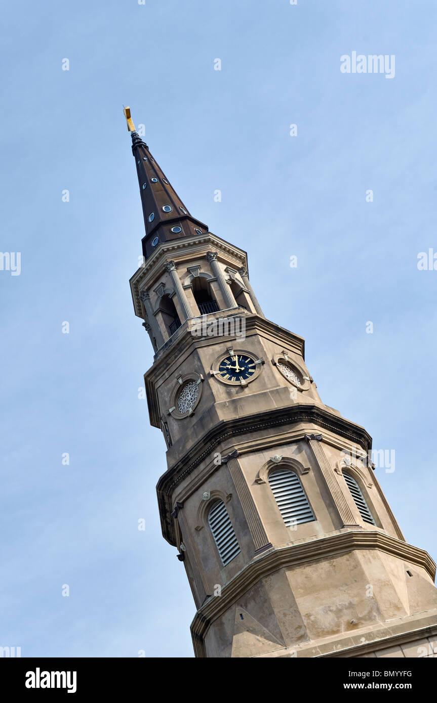 Saint Philip's Episcopal Church Steeple in Charleston, South Carolina - Stock Image