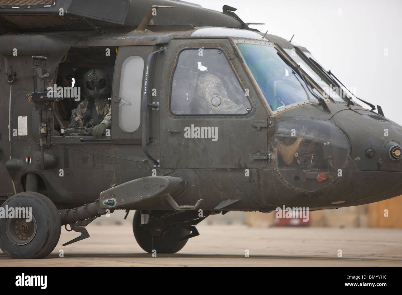 A UH-60 Black Hawk taxis out for a mission over northern Iraq. - Stock Image
