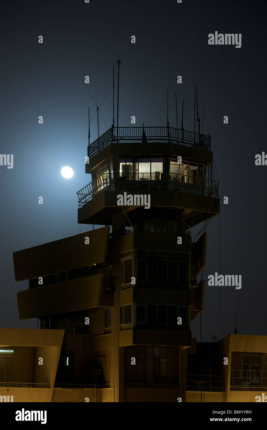 COB Speicher control tower under a full moon. - Stock Image