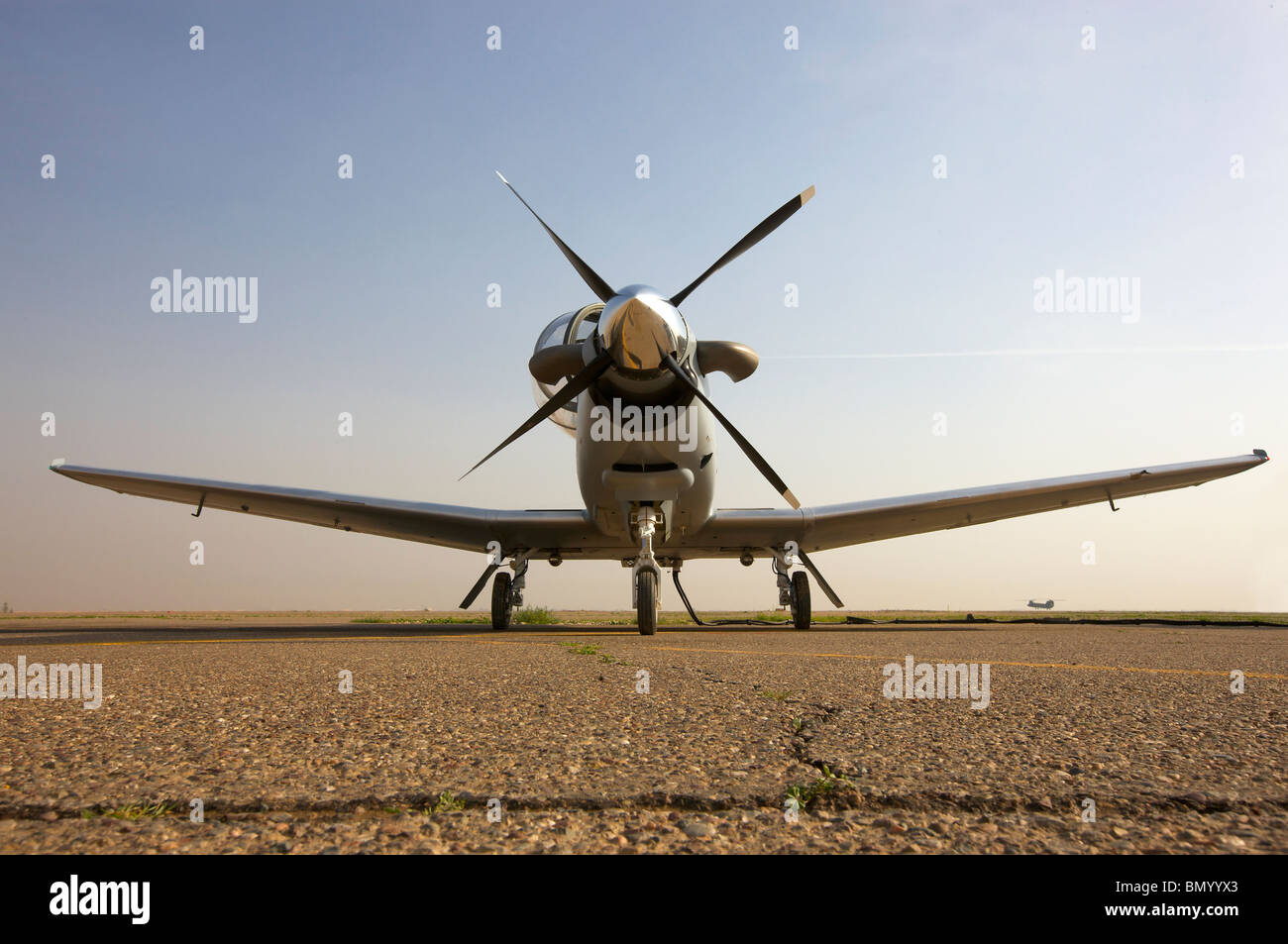 Low angle view of an Iraqi Air Force T-6 Texan trainer aircraft. - Stock Image