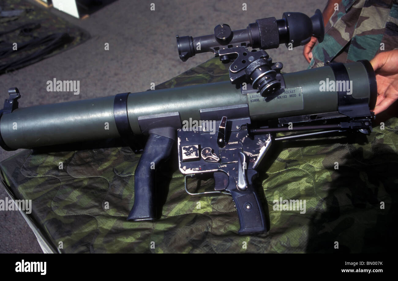 A well worn MK 153 MOD 0 83mm Assault Rocket Launcher. - Stock Image