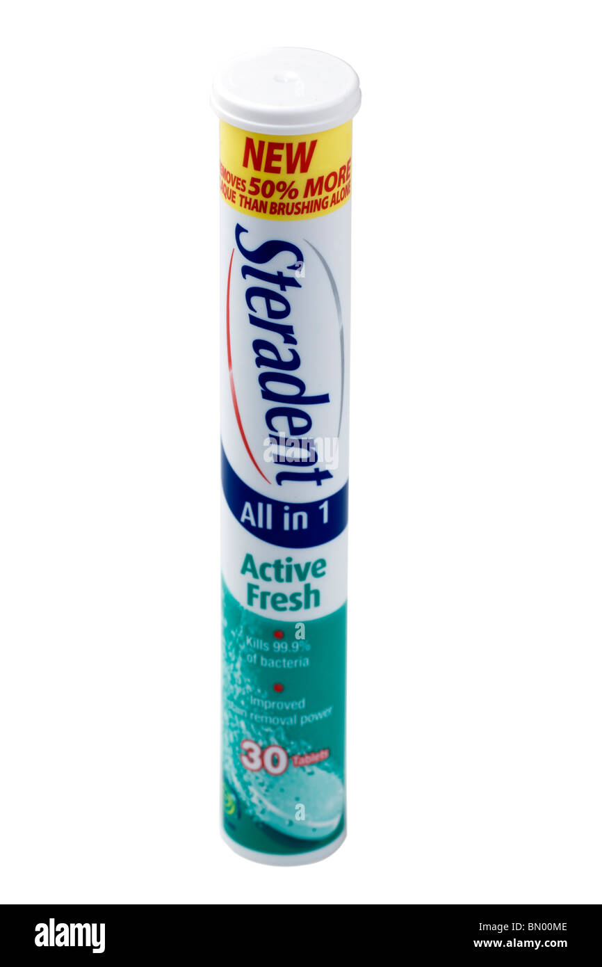 Tube of Steradent all in one dental stain remover - Stock Image