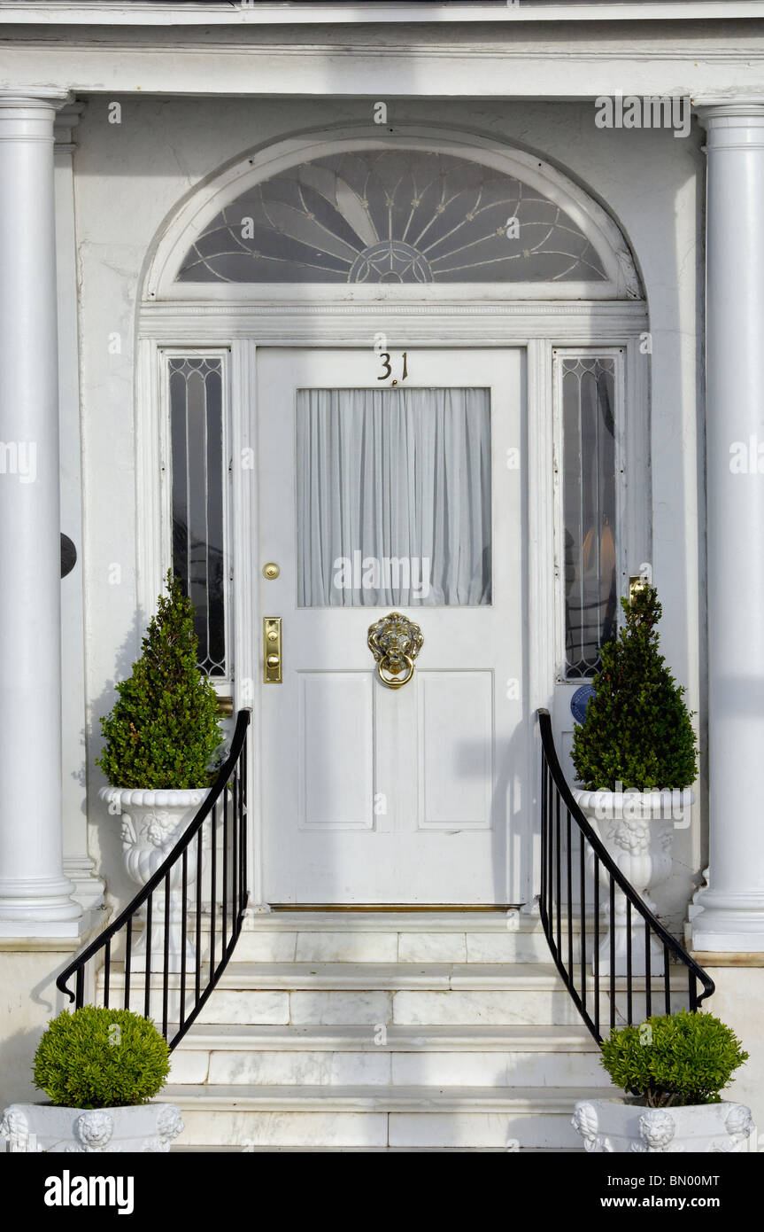 Front Door to Home on East Bay Street in Charleston, South Carolina Stock Photo