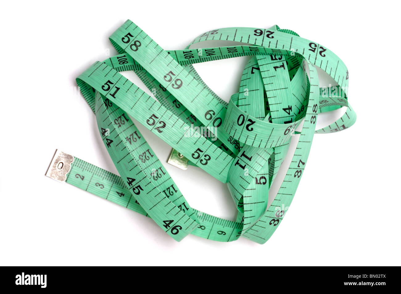 Green tape measure - Stock Image