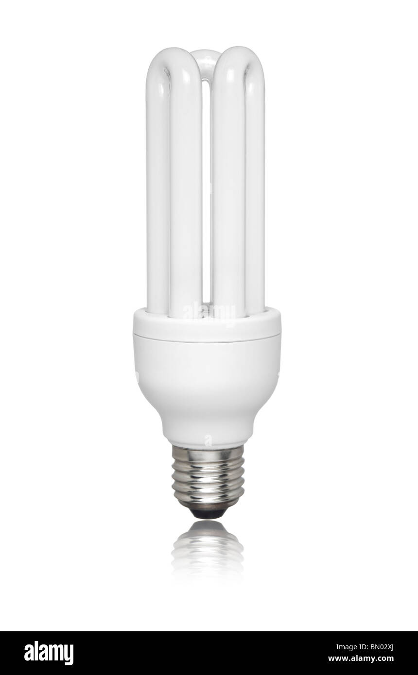 Compact fluorescent light bulb isolated over white background. Small ...