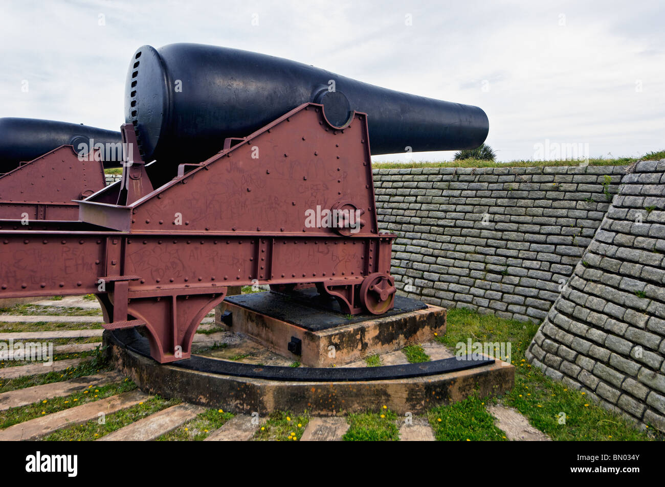 Canon on the Wall at Fort Moultrie on Sullivan's Island in South Carolina - Stock Image