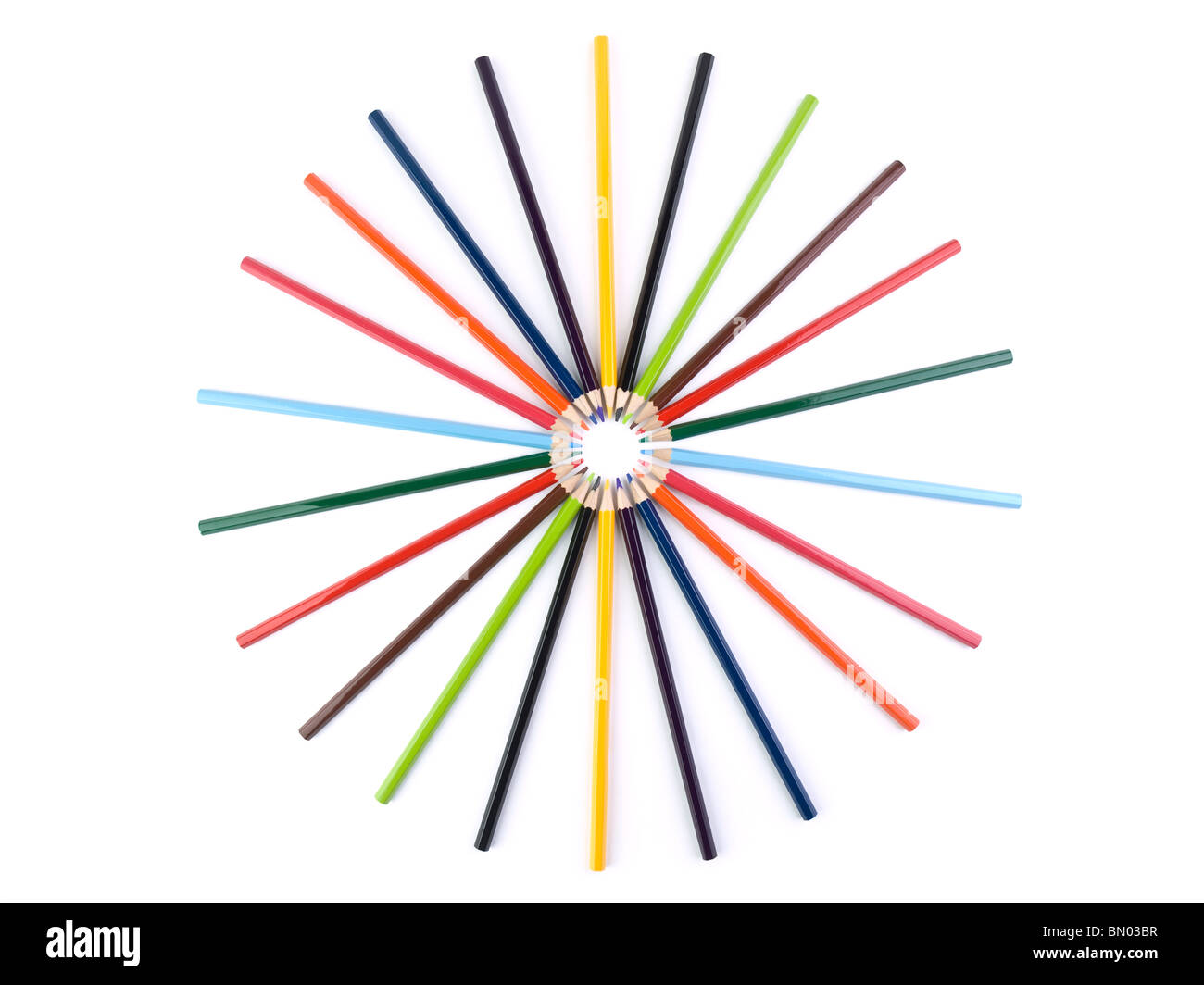 A circle formed by several colored pencils. Isolated on white. - Stock Image