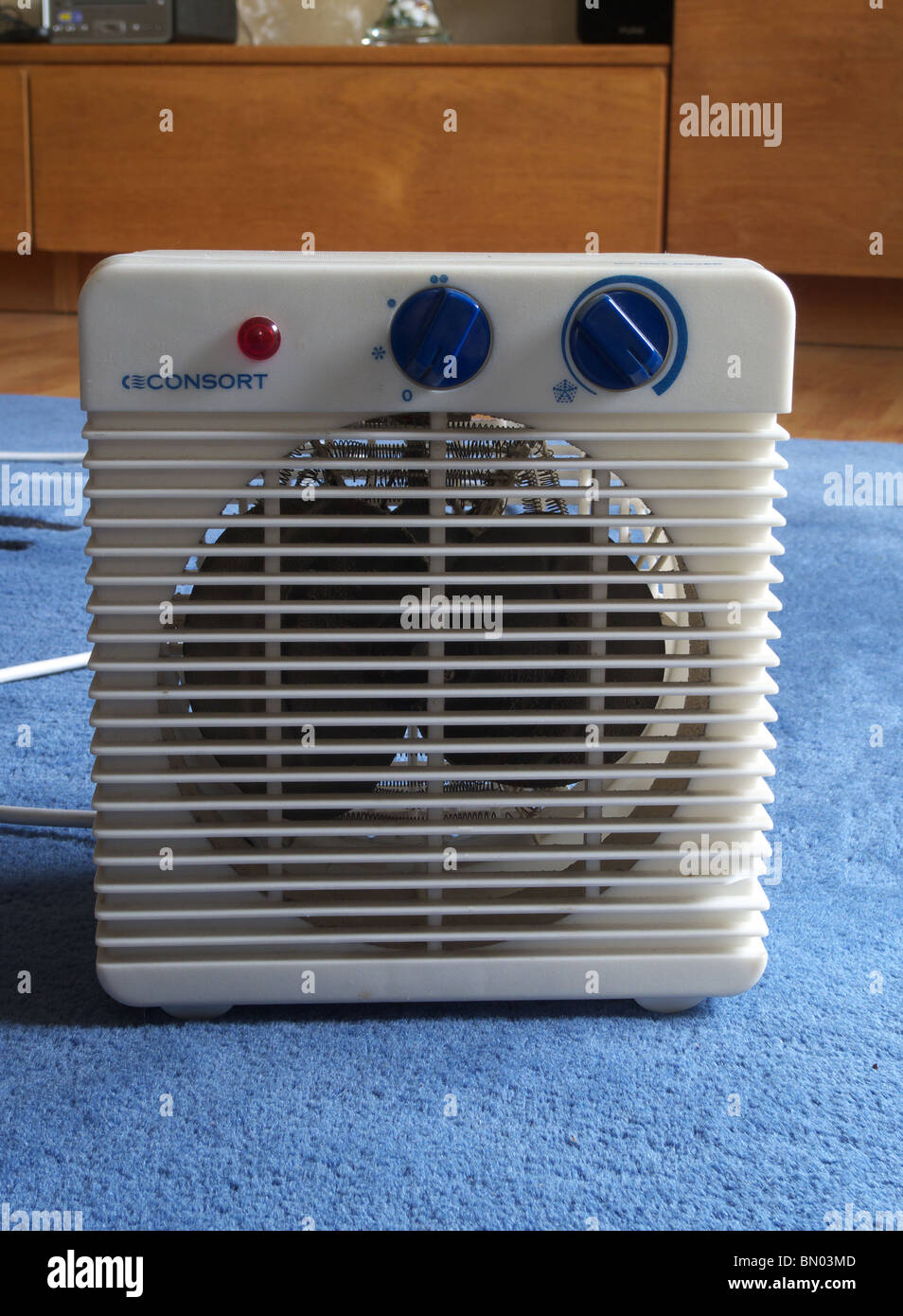 Electric Domestic Fan Heater On a Rug In a Home Environment - Stock Image