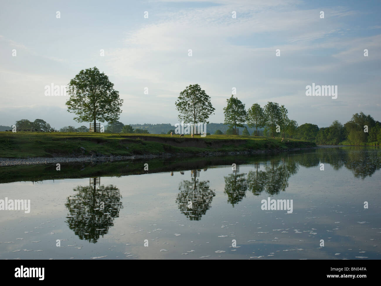 River Eden between Kirkoswald and Lazonby, Eden Valley, Cumbria, England UK - Stock Image