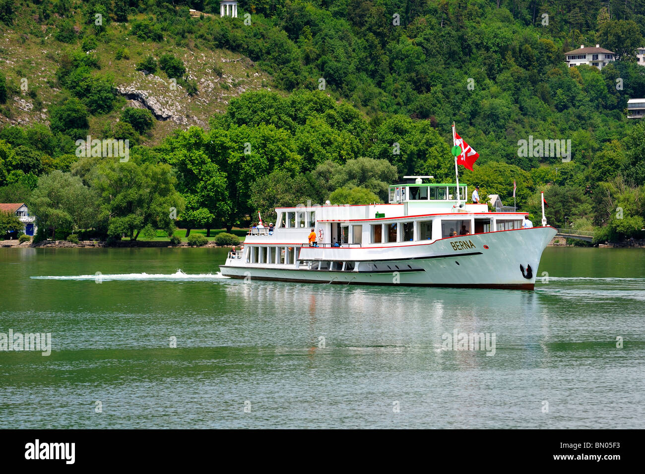 The Swiss lake cruiser Berna leaving the port at Biel (Bienne) on the Lac de Biel (Bielersee)  - Stock Image