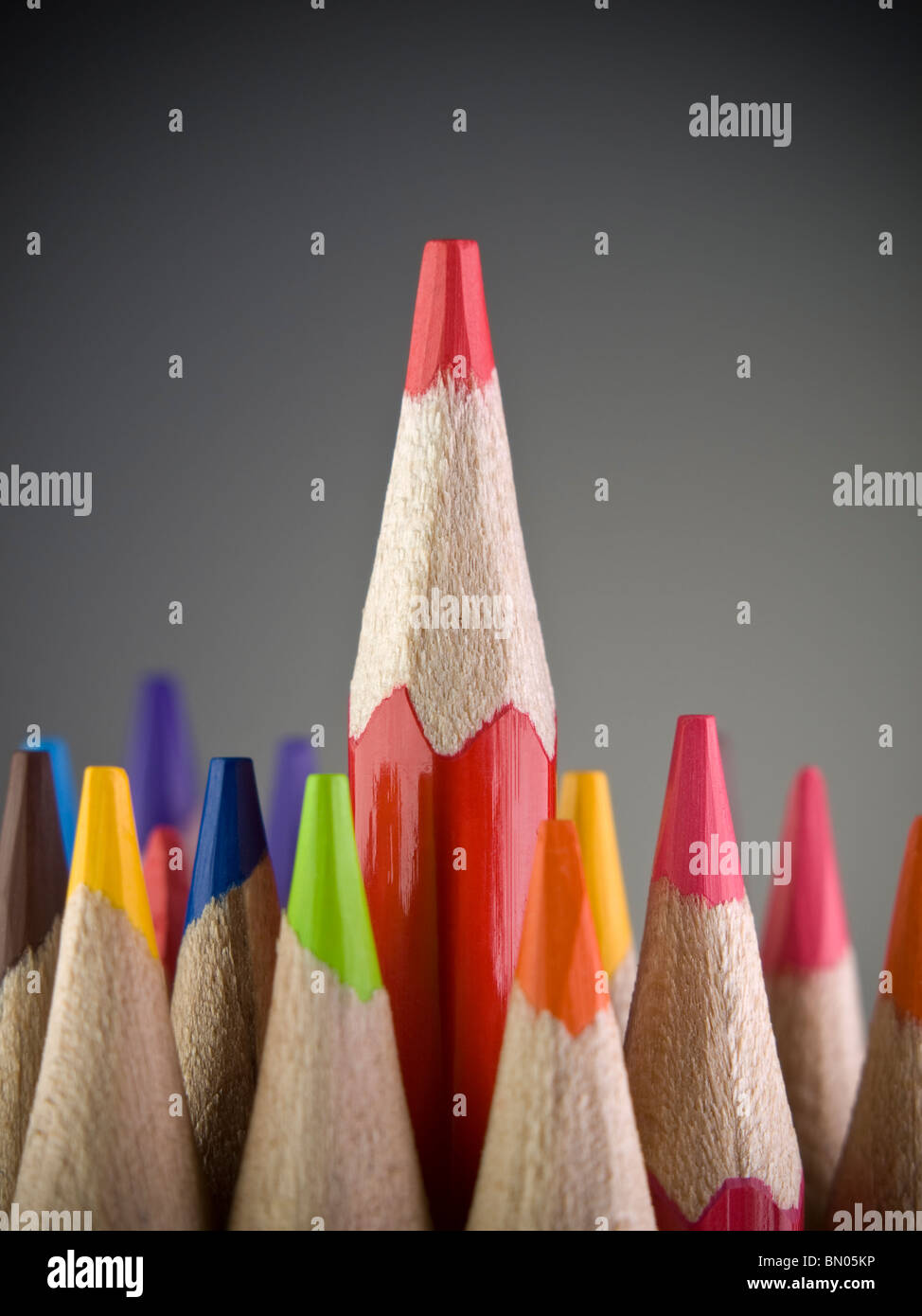 Red pencil coming out among many colored pencils. - Stock Image