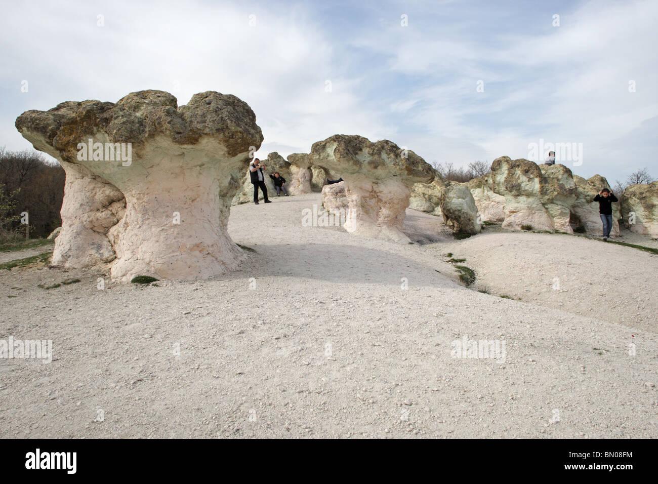 Nature phenomenon Stone , Mushrooms, East Rodopi (Rhodopi) Mountains, Bulgaria, Europe - Stock Image