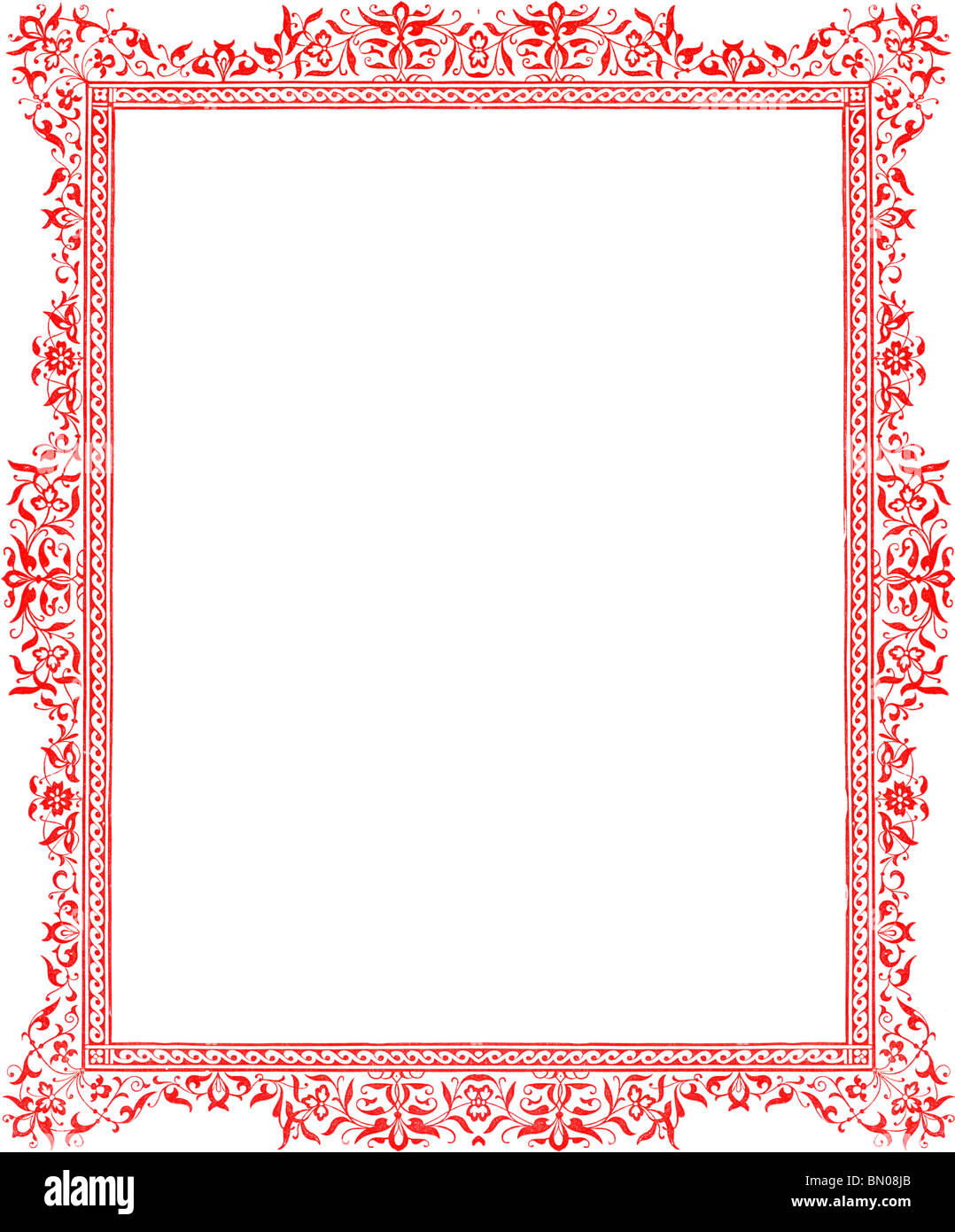 Decorative 1860 Victorian Red Full-Page Floral Border in a Medieval Style Stock Photo
