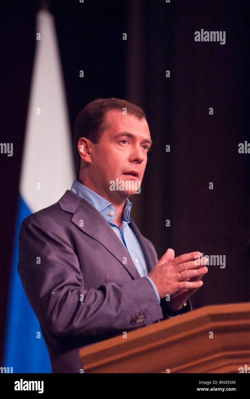 Russian President Dmitry Medvedev speaking to 400 faculty and guests at Stanford University in Silicon Valley, CA - Stock Image