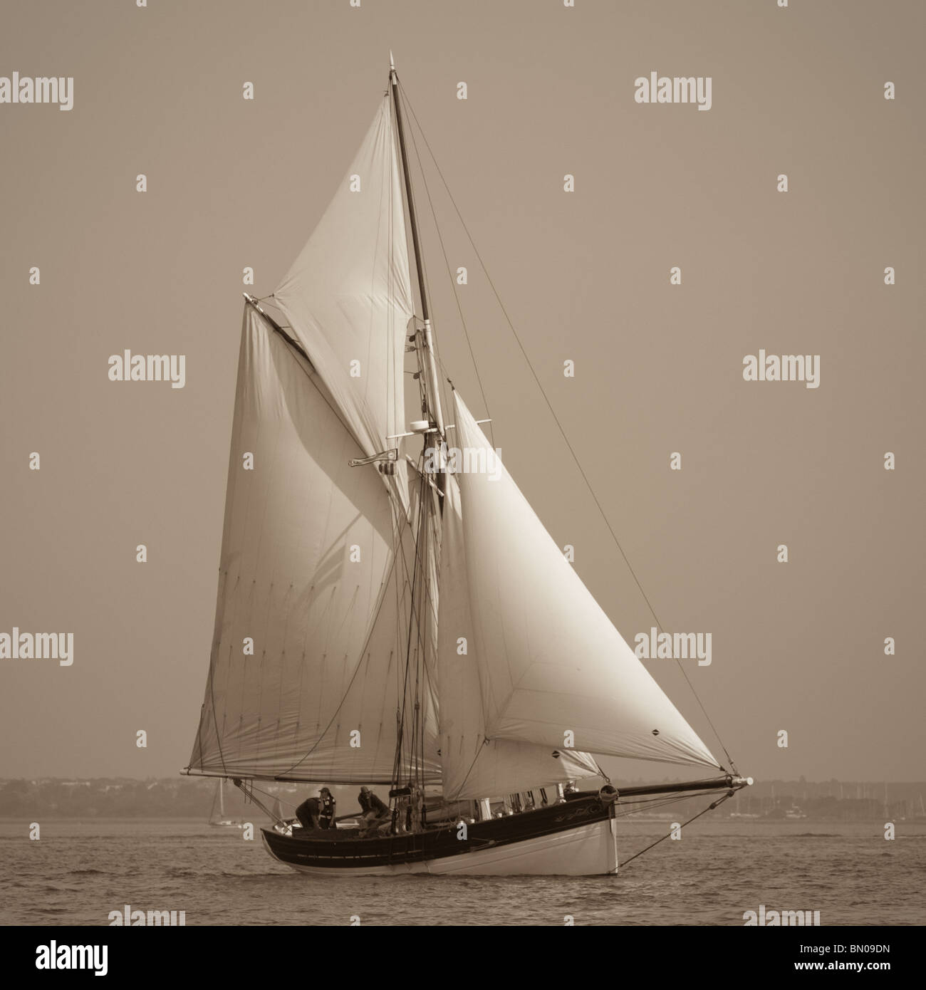 An old gaff rigged sailing boat in the Solent - Stock Image