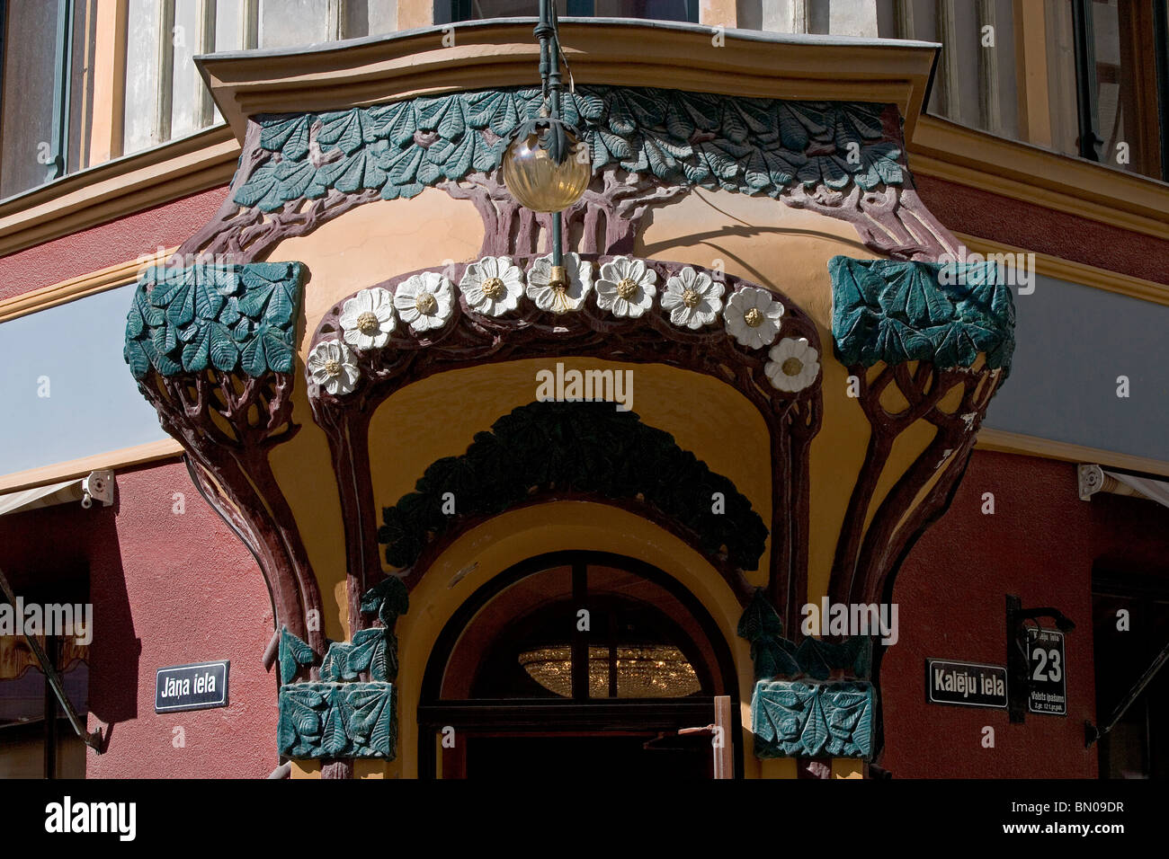 Latvia,Riga,Art Nouveau Buildings,Kaleju Street 23 - Stock Image