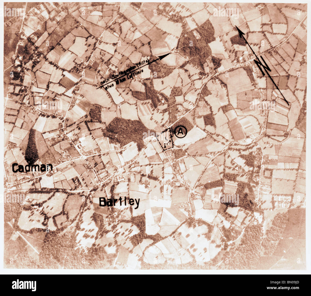 Cadnam & Bartley - Hampshire 1940 Wireless Station Luftwaffe Aerial Image - Stock Image