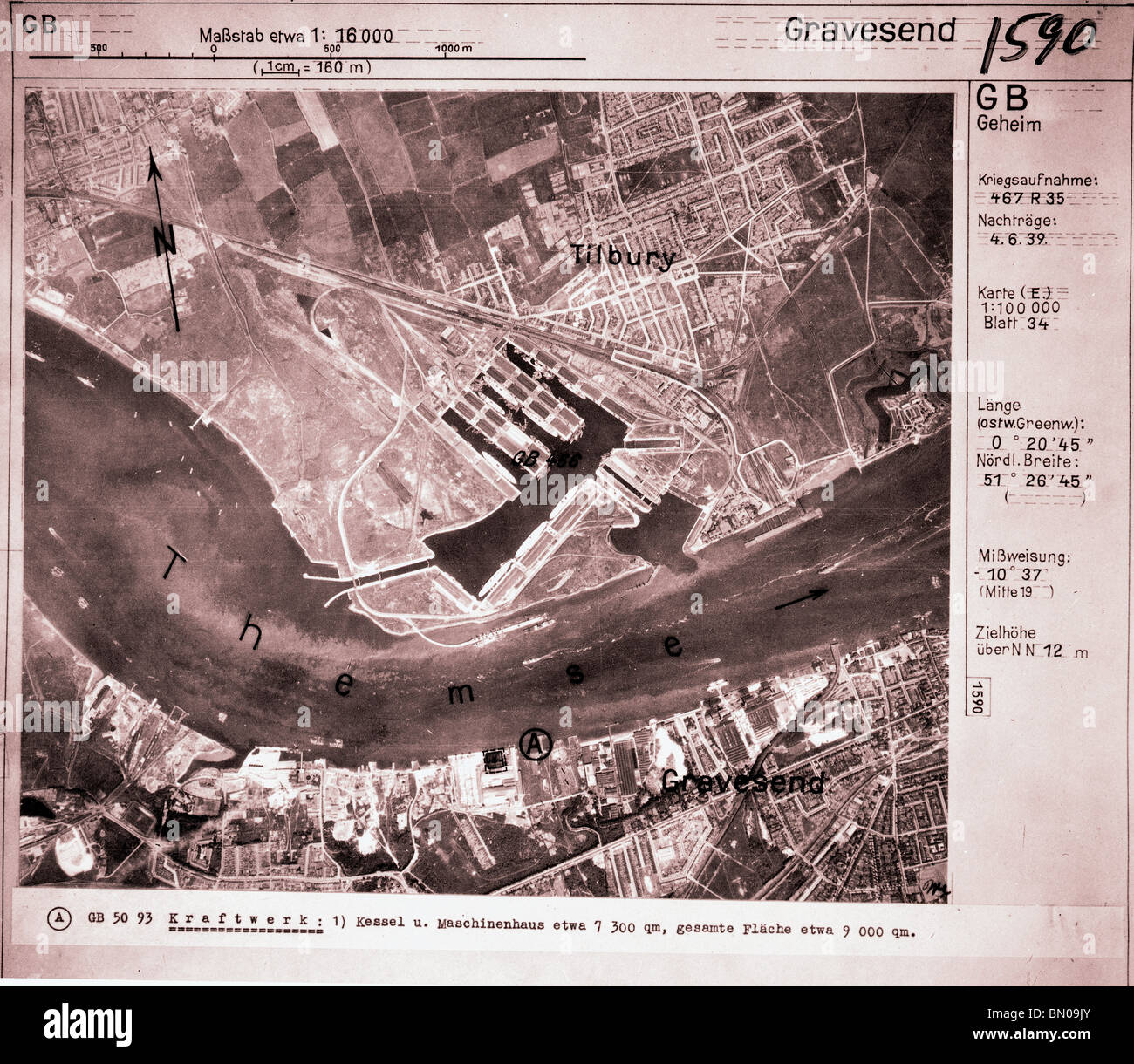 Gravesend - Kent 4th April 1940 Power Station Luftwaffe Aerial Image - Stock Image