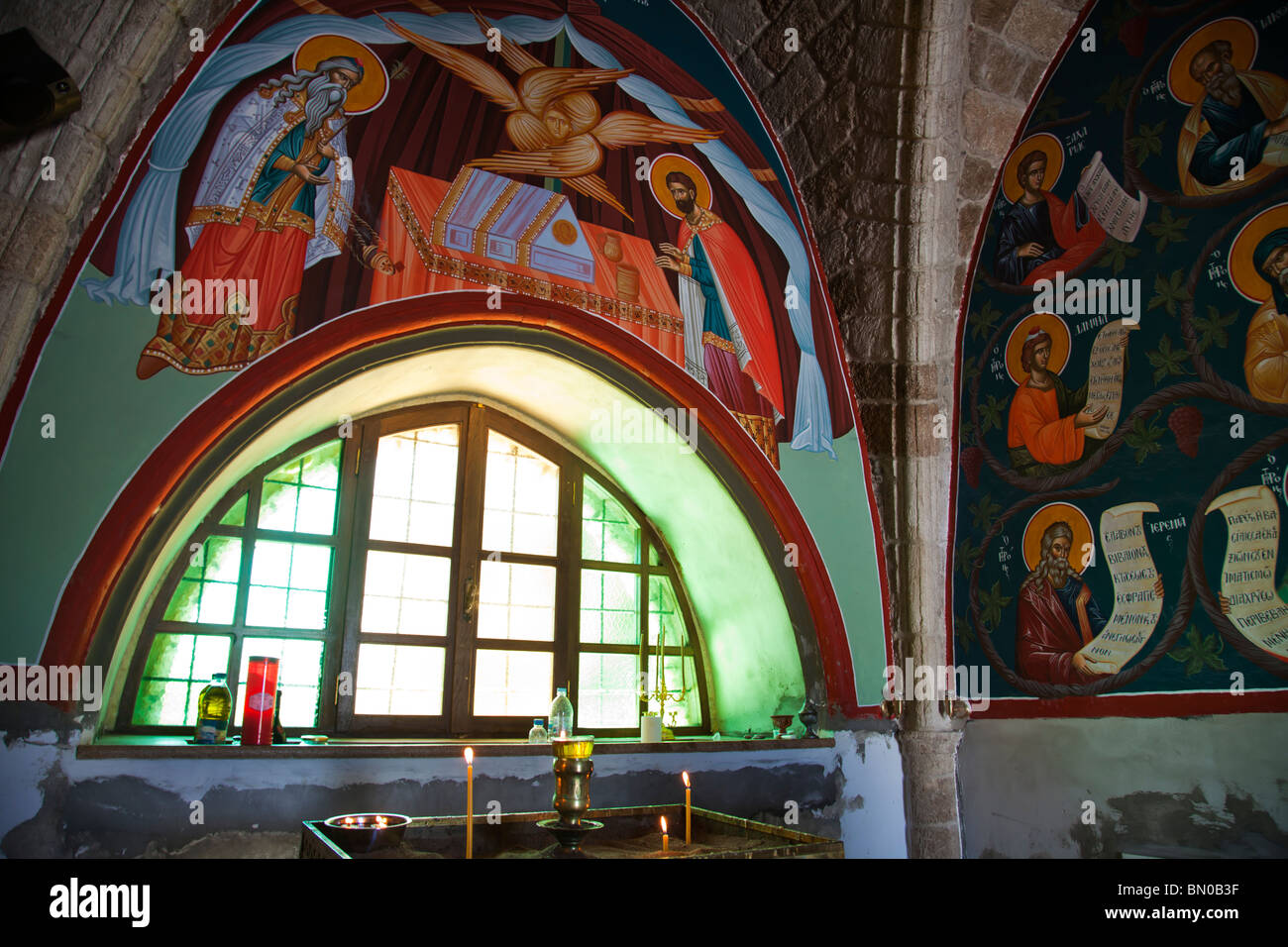 Skiadi monastery interior with murals Greek Orthodox iconography - Stock Image