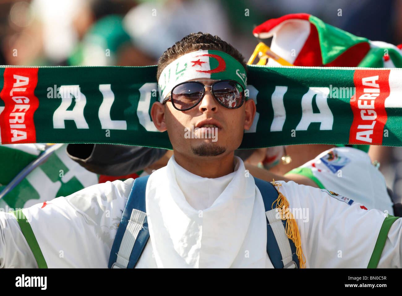 An Algerian supporter seen at a 2010 FIFA World Cup football match between Algeria and the United States June 23, - Stock Image