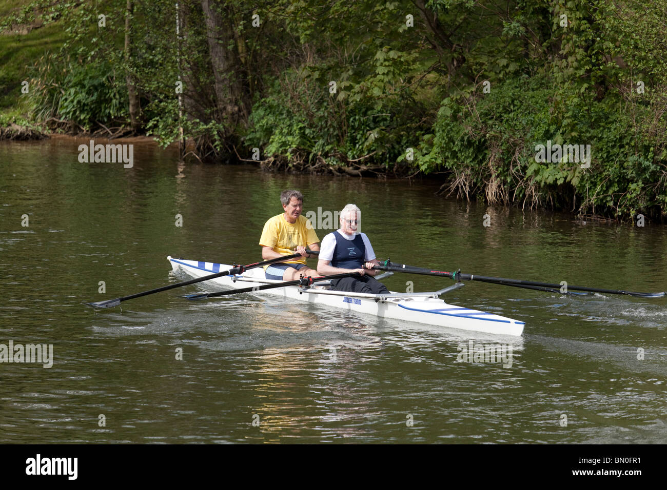 two middle aged men rowing in two man skull - Stock Image